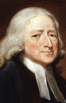 Closeup of John Wesley from the portrait by George Romney